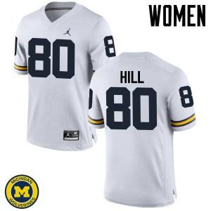 Michigan Wolverines #80 Khalid Hill Women's White College Football Jersey 718909-294