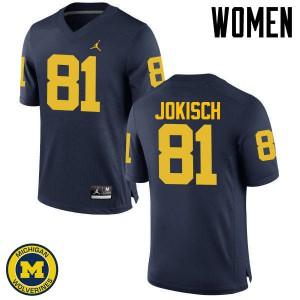 Michigan Wolverines #81 Dan Jokisch Women's Navy College Football Jersey 317979-727