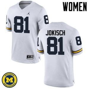 Michigan Wolverines #81 Dan Jokisch Women's White College Football Jersey 126336-568