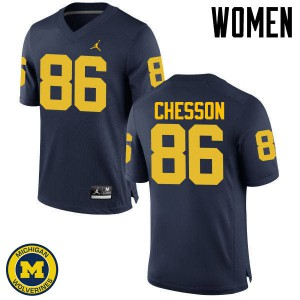 Michigan Wolverines #86 Jehu Chesson Women's Navy College Football Jersey 717506-116