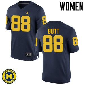 Michigan Wolverines #88 Jake Butt Women's Navy College Football Jersey 575850-770