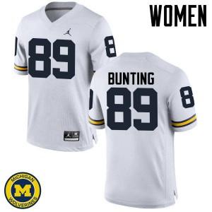 Michigan Wolverines #89 Ian Bunting Women's White College Football Jersey 589870-669