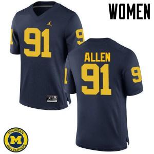 Michigan Wolverines #91 Kenny Allen Women's Navy College Football Jersey 477771-239