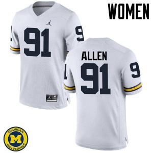 Michigan Wolverines #91 Kenny Allen Women's White College Football Jersey 871907-248