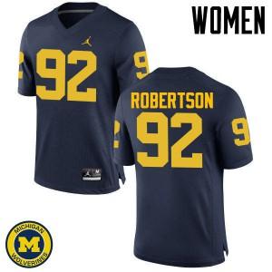 Michigan Wolverines #92 Cheyenn Robertson Women's Navy College Football Jersey 368798-652