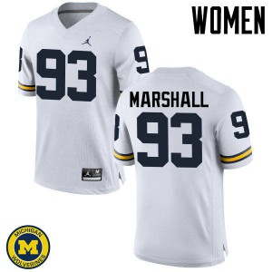 Michigan Wolverines #93 Lawrence Marshall Women's White College Football Jersey 972847-696
