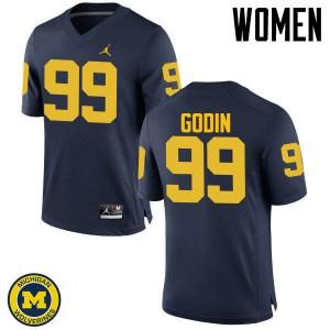 Michigan Wolverines #99 Matthew Godin Women's Navy College Football Jersey 879055-983