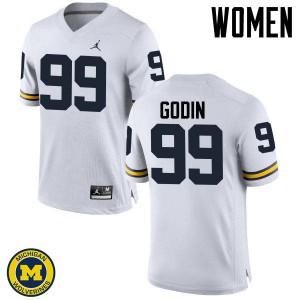 Michigan Wolverines #99 Matthew Godin Women's White College Football Jersey 533177-263
