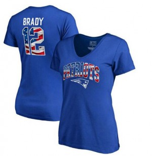 New England Patriots #12 Tom Brady Men's Pro Line by Fanatics Branded Banner Wave Name & Number Royal T-Shirt 677808-597