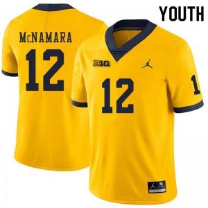Michigan Wolverines #12 Cade McNamara Youth Yellow College Football Jersey 310169-254