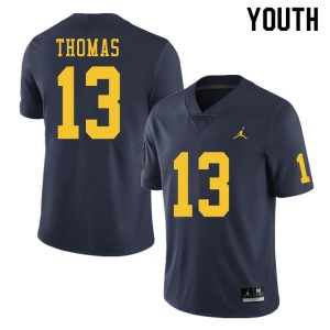 Michigan Wolverines #13 Charles Thomas Youth Navy College Football Jersey 777976-777