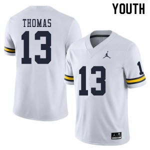 Michigan Wolverines #13 Charles Thomas Youth White College Football Jersey 909187-574