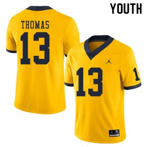 Michigan Wolverines #13 Charles Thomas Youth Yellow College Football Jersey 839860-276