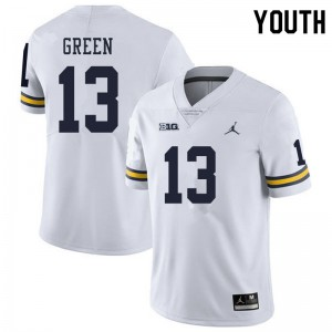 Michigan Wolverines #13 German Green Youth White College Football Jersey 166164-224