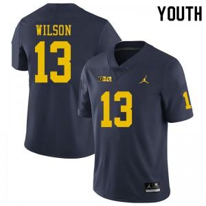 Michigan Wolverines #13 Tru Wilson Youth Navy College Football Jersey 477750-977