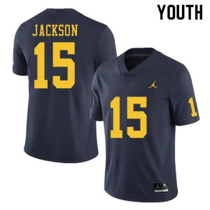 Michigan Wolverines #15 Giles Jackson Youth Navy College Football Jersey 999843-141