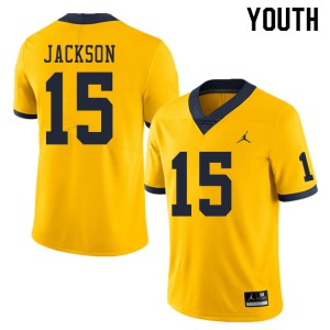 Michigan Wolverines #15 Giles Jackson Youth Yellow College Football Jersey 139073-372