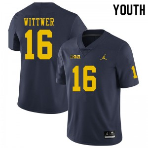 Michigan Wolverines #16 Max Wittwer Youth Navy College Football Jersey 449543-402