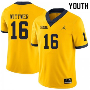 Michigan Wolverines #16 Max Wittwer Youth Yellow College Football Jersey 740311-244