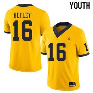 Michigan Wolverines #16 Ren Hefley Youth Yellow College Football Jersey 504992-582