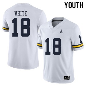 Michigan Wolverines #18 Brendan White Youth White College Football Jersey 705224-308
