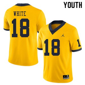 Michigan Wolverines #18 Brendan White Youth Yellow College Football Jersey 976005-418