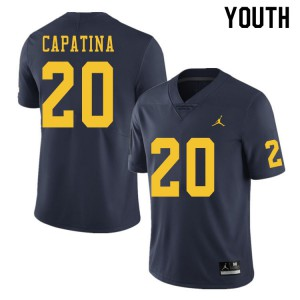 Michigan Wolverines #20 Nicholas Capatina Youth Navy College Football Jersey 183979-561