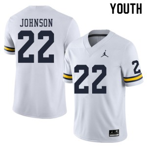 Michigan Wolverines #22 George Johnson Youth White College Football Jersey 986780-358