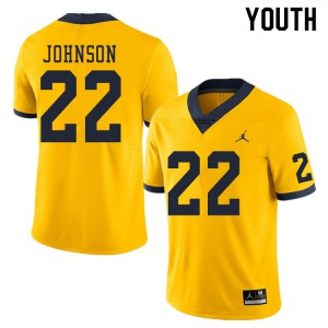 Michigan Wolverines #22 George Johnson Youth Yellow College Football Jersey 131950-581