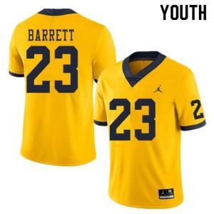 Michigan Wolverines #23 Michael Barrett Youth Yellow College Football Jersey 594057-925