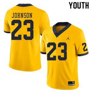 Michigan Wolverines #23 Quinten Johnson Youth Yellow College Football Jersey 353580-158