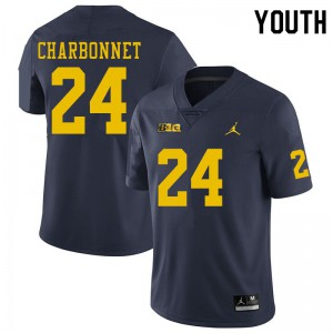 Michigan Wolverines #24 Zach Charbonnet Youth Navy College Football Jersey 970921-592