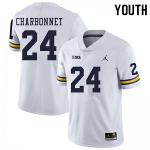 Michigan Wolverines #24 Zach Charbonnet Youth White College Football Jersey 187327-443