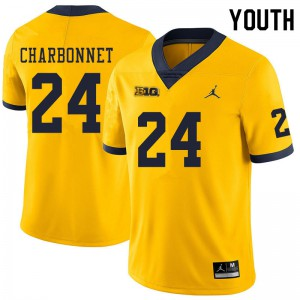 Michigan Wolverines #24 Zach Charbonnet Youth Yellow College Football Jersey 871981-253
