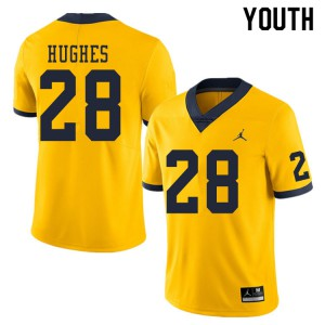 Michigan Wolverines #28 Danny Hughes Youth Yellow College Football Jersey 830978-202