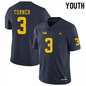 Michigan Wolverines #3 Christian Turner Youth Navy College Football Jersey 350490-210