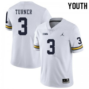 Michigan Wolverines #3 Christian Turner Youth White College Football Jersey 883210-730