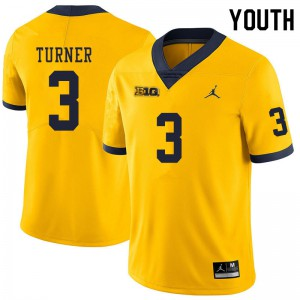 Michigan Wolverines #3 Christian Turner Youth Yellow College Football Jersey 620157-323