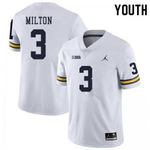 Michigan Wolverines #3 Joe Milton Youth White College Football Jersey 960984-708