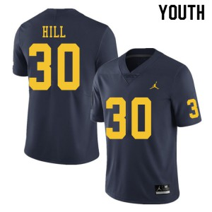 Michigan Wolverines #30 Daxton Hill Youth Navy College Football Jersey 826833-803