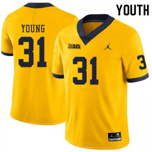 Michigan Wolverines #31 Jack Young Youth Yellow College Football Jersey 999710-337