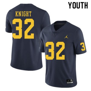 Michigan Wolverines #32 Nolan Knight Youth Navy College Football Jersey 380243-389