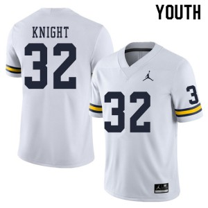 Michigan Wolverines #32 Nolan Knight Youth White College Football Jersey 596906-647