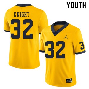 Michigan Wolverines #32 Nolan Knight Youth Yellow College Football Jersey 501800-626