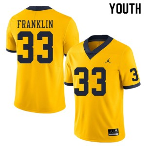Michigan Wolverines #33 Leon Franklin Youth Yellow College Football Jersey 575087-905