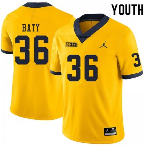 Michigan Wolverines #36 Ramsey Baty Youth Yellow College Football Jersey 235556-496