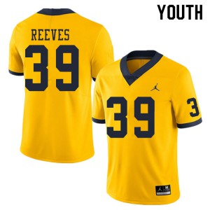 Michigan Wolverines #39 Lawrence Reeves Youth Yellow College Football Jersey 122923-117