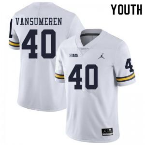 Michigan Wolverines #40 Ben VanSumeren Youth White College Football Jersey 138046-951