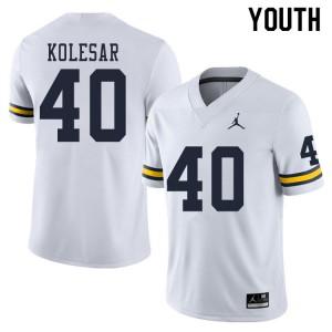 Michigan Wolverines #40 Caden Kolesar Youth White College Football Jersey 261825-463