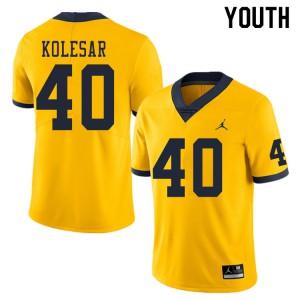 Michigan Wolverines #40 Caden Kolesar Youth Yellow College Football Jersey 310982-885